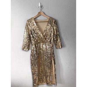 Gold sequins cocktail dress